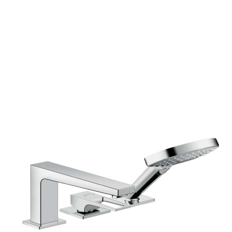 Hansgrohe Metropol 3-Hole Roman Tub Set Trim with Loop Handle and 1.75 GPM Handshower - In Multiple Colors