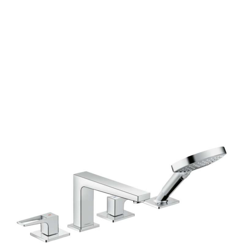 Hansgrohe Metropol 4-Hole Roman Tub Set Trim with Loop Handles and 1.75 GPM Handshower - In Multiple Colors