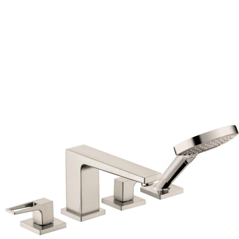 Hansgrohe Metropol 4-Hole Roman Tub Set Trim with Loop Handles and 1.75 GPM Handshower