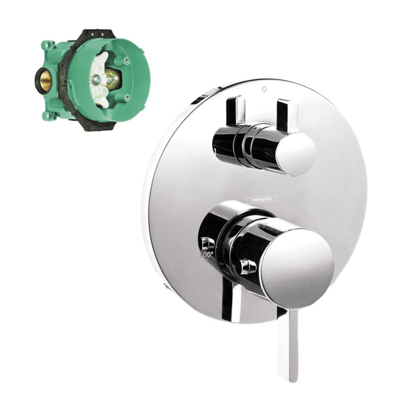 Hansgrohe Ecostat S Thermostatic Trim With Volume Control, Diverter, And Rough-In