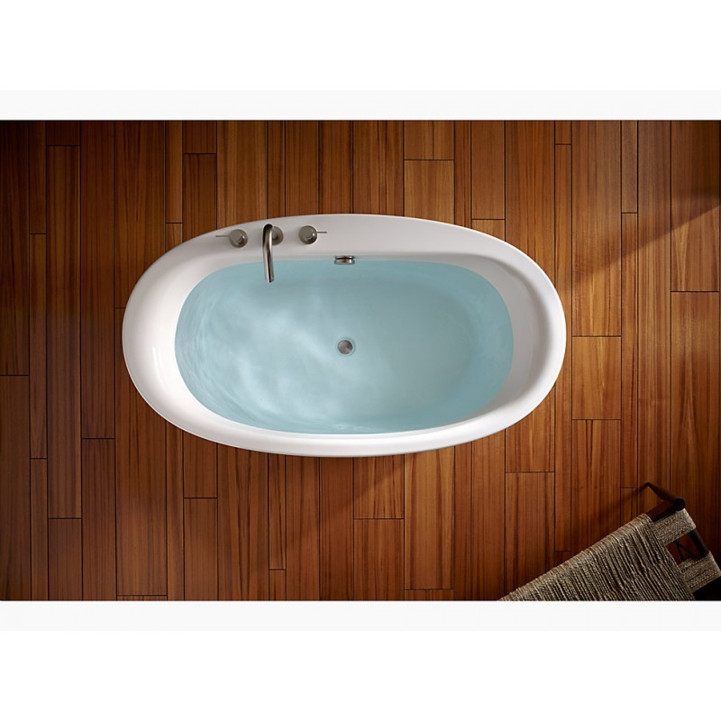 66in X 36in Oval Freestanding Bath with Straight Shroud and Center Drain