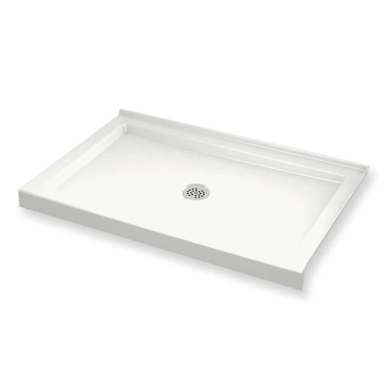 MAAX B3Round 48-in x 32-in Rectangular Acrylic Corner Right Shower Base with Center Drain