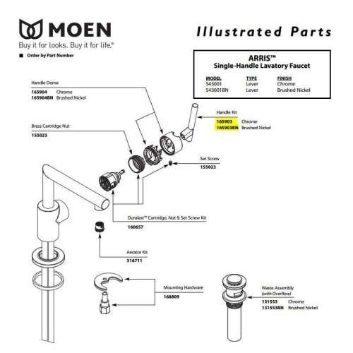 Moen Arris Replacement Handle Kit
