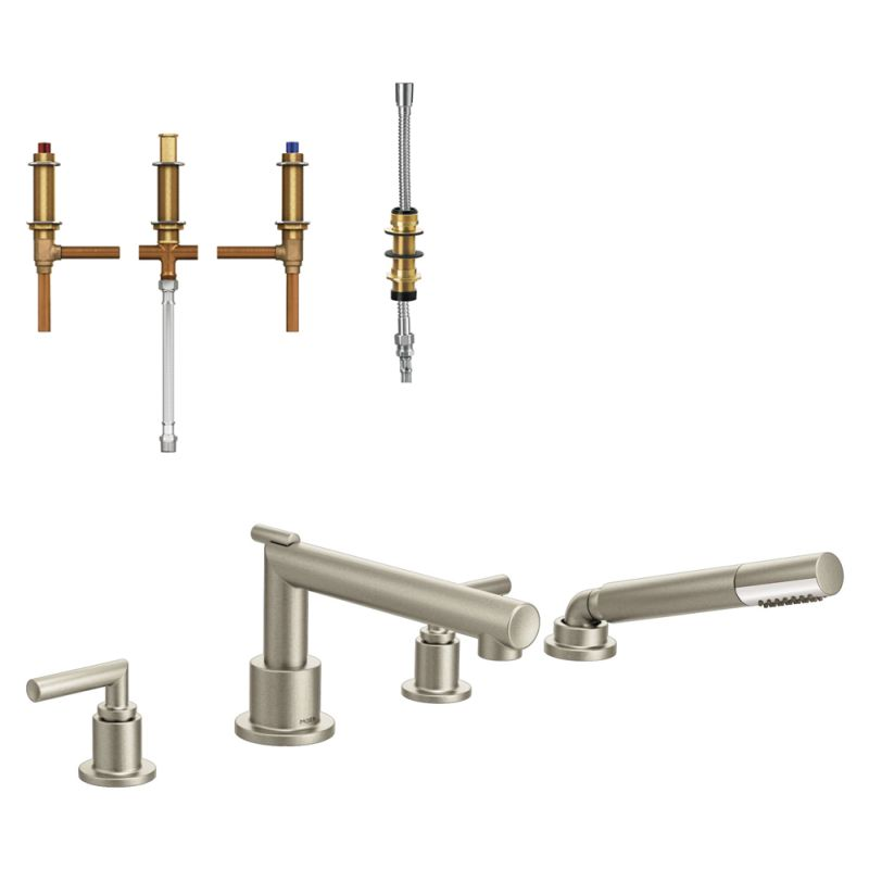 Moen Arris 2 Handle Diverter Roman Tub Faucet With Hand Shower In