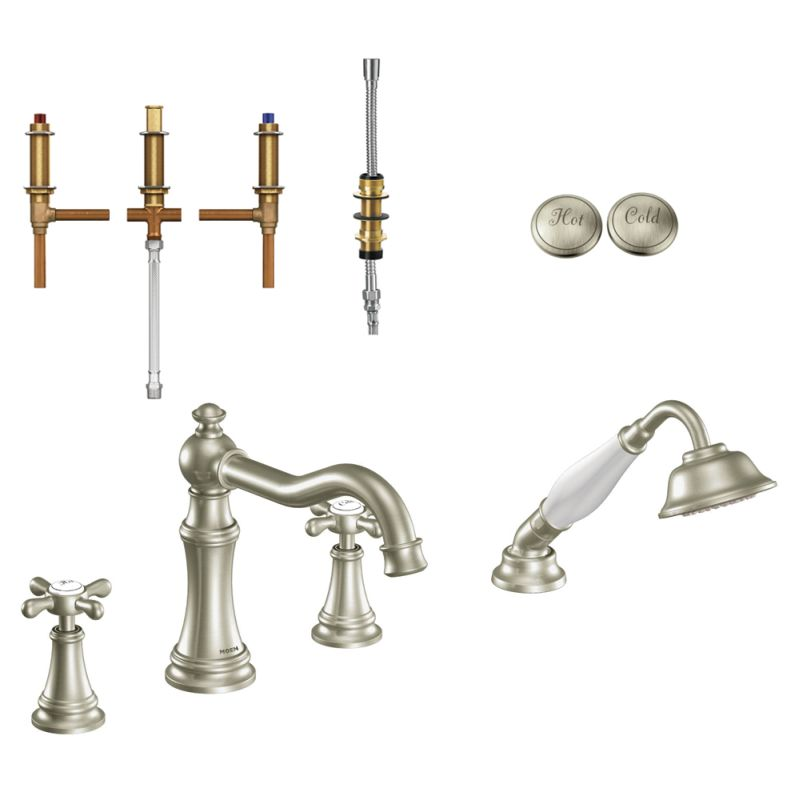 Moen Weymouth 9 1 8 In Roman Tub Faucet With Hand Shower In Brushed