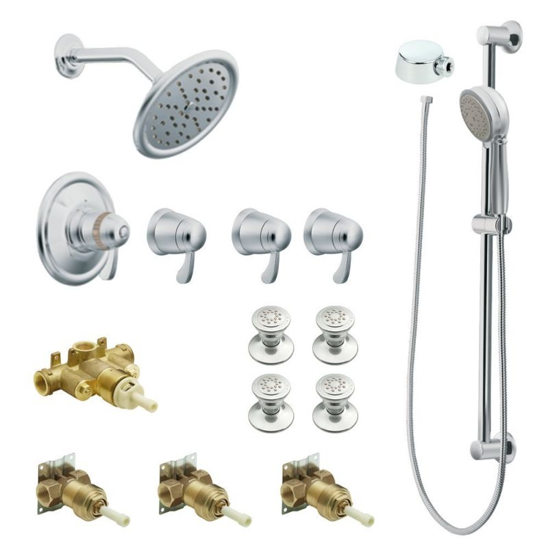 Moen ExactTemp 7 In Rain Shower Vertical Spa Kit With Handheld Shower And  Slide Bar Chrome
