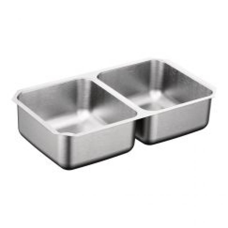 Moen 2000 Series 31-1/4-In X 18-In 18 Gauge Double Bowl Undermount Sink