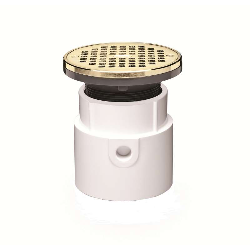 Oatey Drain 3in or 4in PVC Body Hub/Spg with 5in Brass Round Grate & Ring