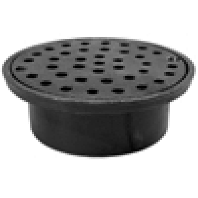Jones Stephens Floor Drain 3in X 6-1/4in Cast Iron Inside Round Caulk Black
