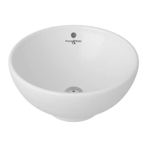 Rohl Perrin and Rowe 15-in. Cornish Porcelain Vessel Bathroom Sink, In White