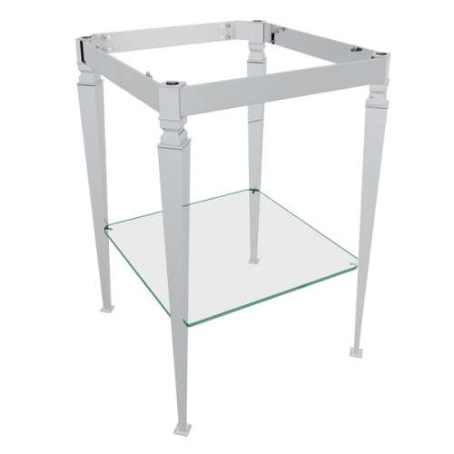Rohl 19.29-in. Aluminum, Brass Washstand with Glass Shelf, In Polished Nickel