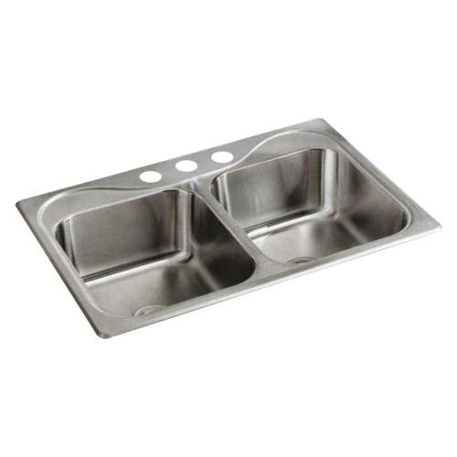 Sterling Southhaven 33-in. Double Bowl Drop-in 20 Gauge Stainless Steel Kitchen Sink - In Multiple Configurations