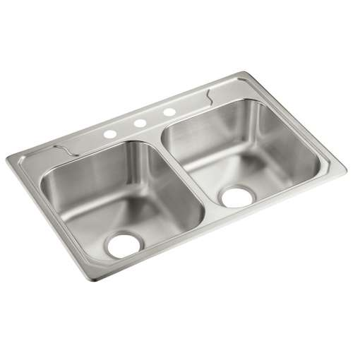 Sterling Middleton 33-in. Double Bowl Drop-in 21 Gauge Stainless Steel Kitchen Sink - In Multiple Configurations