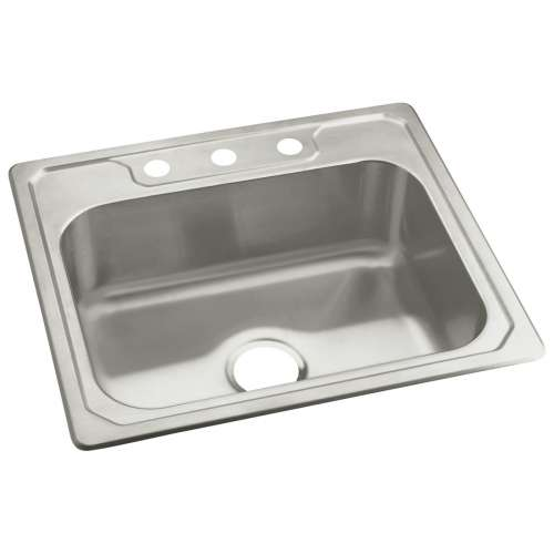 Sterling Middleton 25-in. Single Bowl Drop-in 20 Gauge Stainless Steel Kitchen Sink - In Multiple Configurations