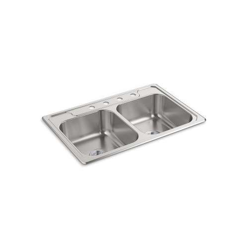 Sterling Middleton 33-in. Double Bowl Drop-in 21 Gauge Stainless Steel Kitchen Sink