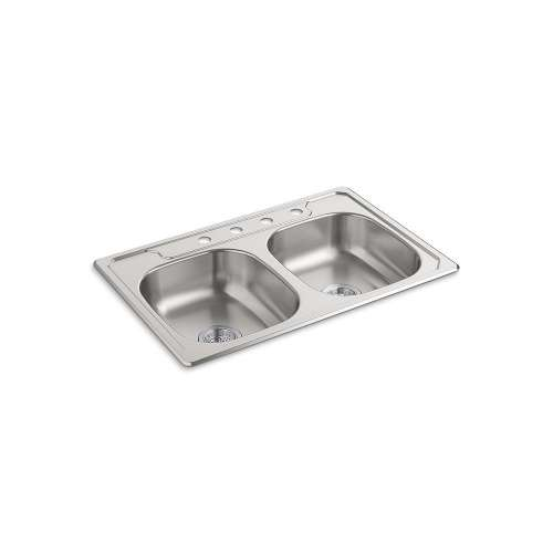 Sterling Middleton 33-in. Double Bowl Drop-in 20 Gauge Stainless Steel Kitchen Sink