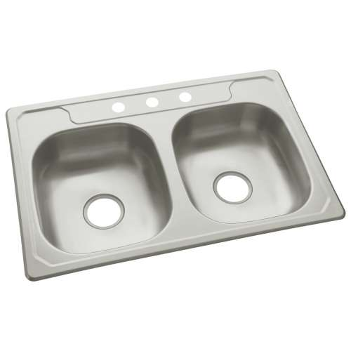 Sterling Middleton 33-in. Double Bowl Drop-in 20 Gauge Stainless Steel Kitchen Sink - In Multiple Configurations