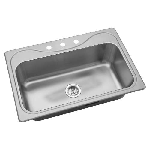 Sterling Southhaven 33-in. Single Bowl Drop-in 18 Gauge Stainless Steel Kitchen Sink - In Multiple Configurations