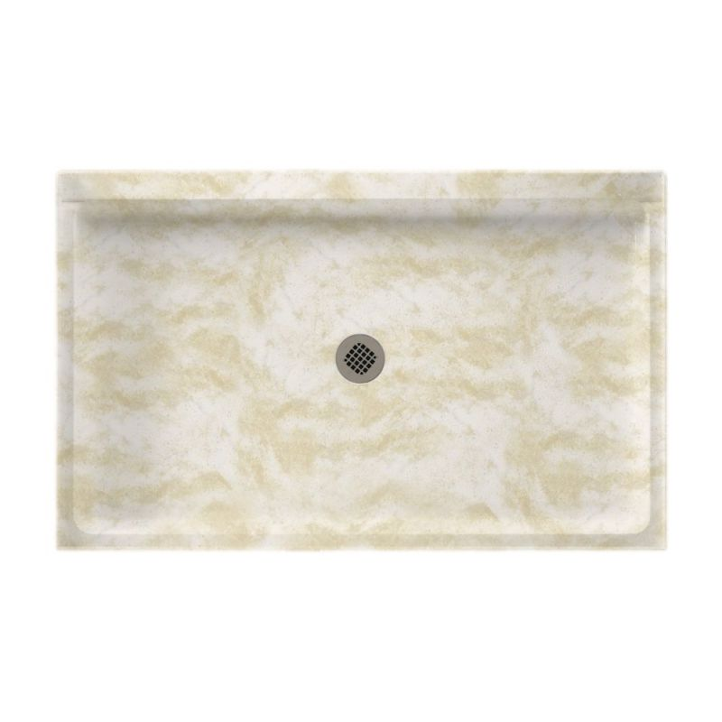 Swan Solid Surface 54-in x 34-in Shower Base with Center Drain