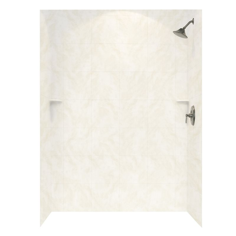 Swan Solid Surface 36-in x 62-in x 72-in Square Tile Bath Wall Surround