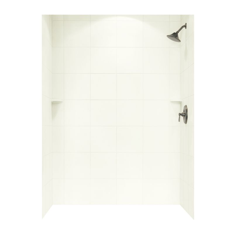 Swan Solid Surface 36-in x 62-in x 96-in Square Tile Bath Wall Surround