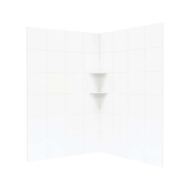 Swan Solid Surface 48-in x 48-in x 72-in Shower Corner Wall Panel