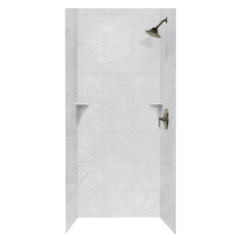 Swan Solid Surface 36-in x 36-in x 72-in Square Tile Bath Wall Surround