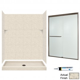 Swan Solid Surface 60-in x 34-in x 72-in 5-Piece Alcove Shower Kit