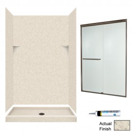 Swan Solid Surface  32-in x 48-in x72-in 5-Piece Alcove Shower Kit