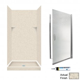 Swan Solid Surface 36-in x 36-in x 72-in 5-Piece Alcove Shower Kit