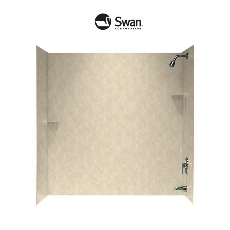 Swan Solid Surface 48-in x 72-in x 60-in Bathtub Wall Surround