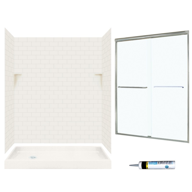 Buy Swan Solid Surface 60-in x 32-in x 72-in 5-Piece Alcove Shower ...