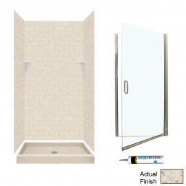Swan Solid Surface 36-in x 36-in x 72.5-in 5-Piece Alcove Shower Kit