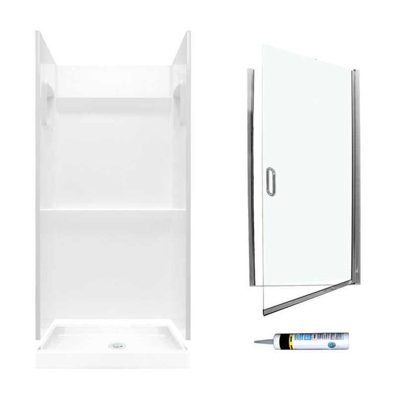 Buy Swan Veritek 32-in x 32-in x 73.25-in 3-Piece Alcove Shower Kit ...