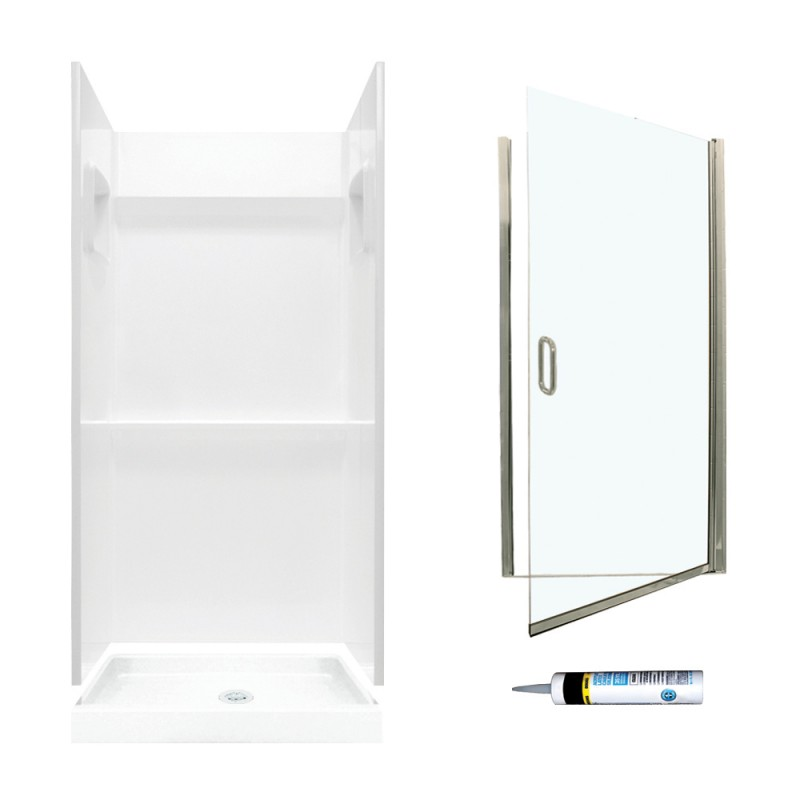 Swan Veritek 32-in x 32-in x  73.25-in 3-Piece Alcove Shower Kit
