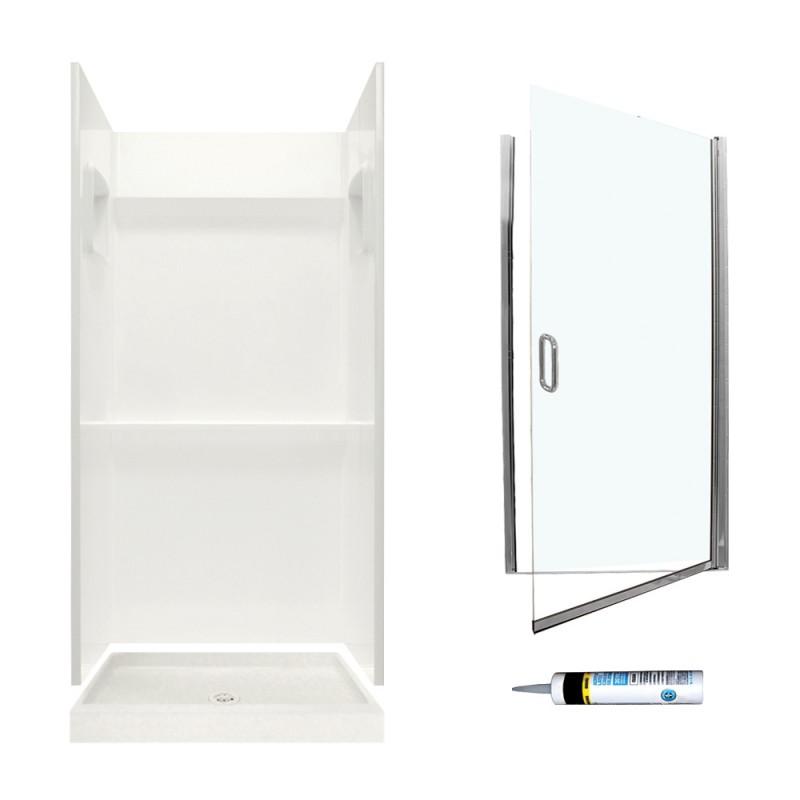 Swan Veritek 32-in x 32-in x  73.25-in 3-Piece Alcove Shower Kit