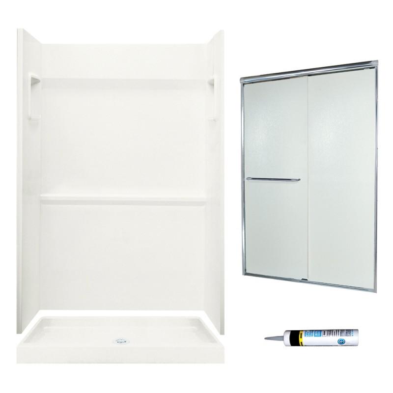 Swan Veritek 34-in x 48-in x 73.25-in 3-Piece Alcove Shower Kit