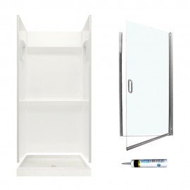 Swan Veritek 36-in x 36-in x 73.25-in 3-Piece Alcove Shower Kit
