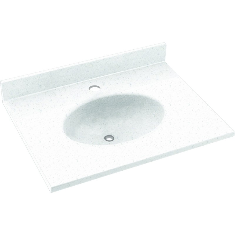 Swan Ellipse Solid Surface 19-in x 17-in Vanity Top