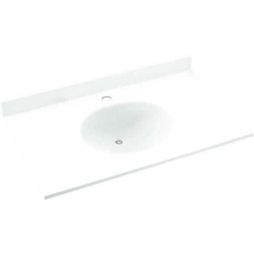 Swan Ellipse Solid Surface 25-in x 22-in Vanity Top