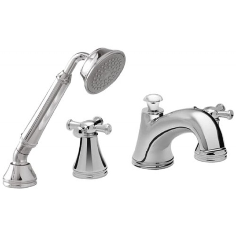 Toto Vivian Deck-Mounted Bathtub Faucet Trim Kit With Handheld Shower And Cross Handles