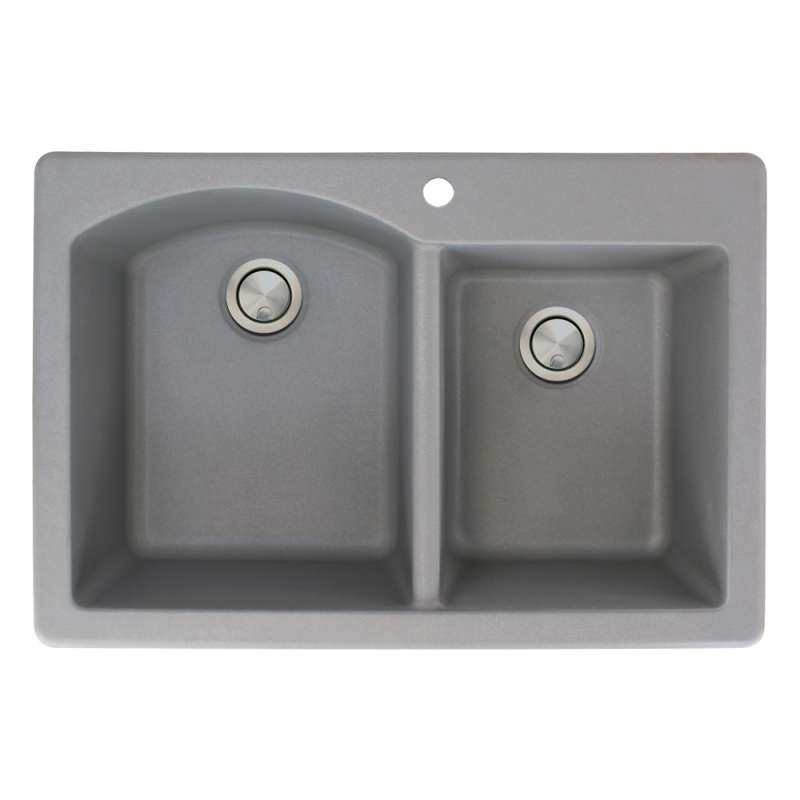 Transolid Aversa 33in x 22in silQ Granite Drop-in Double Bowl Kitchen Sink with 1 B Faucet Hole, In Grey