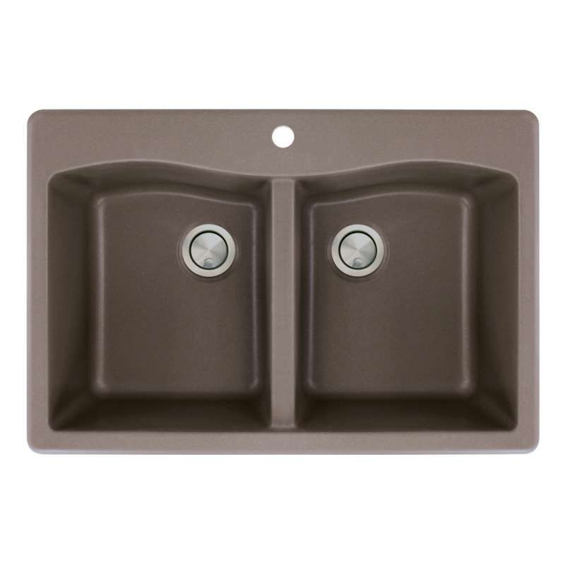 Transolid Aversa 33in x 22in silQ Granite Drop-in Double Bowl Kitchen Sink with 1 Pre-Drilled Center Faucet Hole, in Espresso