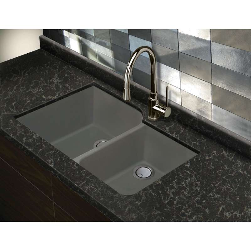 Transolid Radius Granite 31-in Undermount Kitchen Sink in Grey ... on wall mount kitchen sink faucet, farmhouse kitchen sink faucet, single kitchen sink faucet,