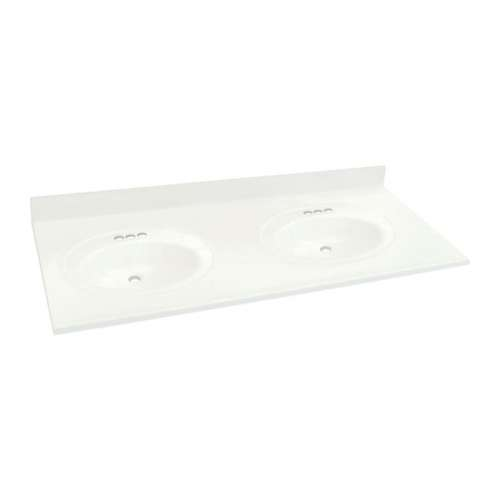 Transolid Cultured Marble 61-in x 22-in Double Bowl Vanity Top