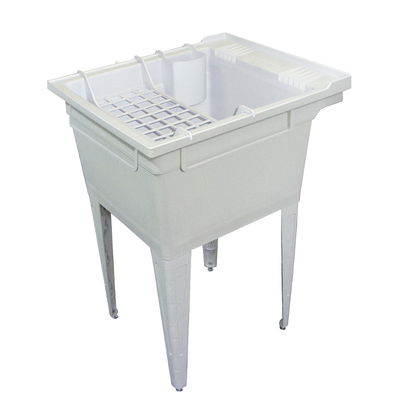 Transolid Compostite 22-in Floor Mounted Laundry Tub with Accessory Kit