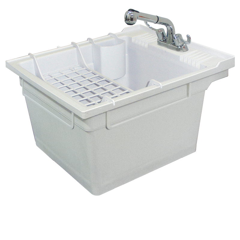 Transolid Compostite 22-in Wall Mounted Laundry Tub with Faucet and Accessory Kit