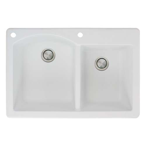 Transolid Aversa 33in x 22in silQ Granite Drop-in Double Bowl Kitchen Sink with 2 BA Faucet Holes, In White