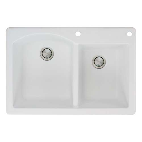 Transolid Aversa 33in x 22in silQ Granite Drop-in Double Bowl Kitchen Sink with 2 BE Faucet Holes, In White