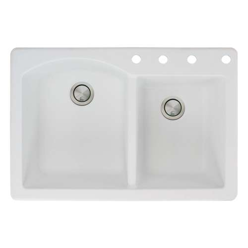 Transolid Aversa 33in x 22in silQ Granite Drop-in Double Bowl Kitchen Sink with 4 BCDE Faucet Holes, In White